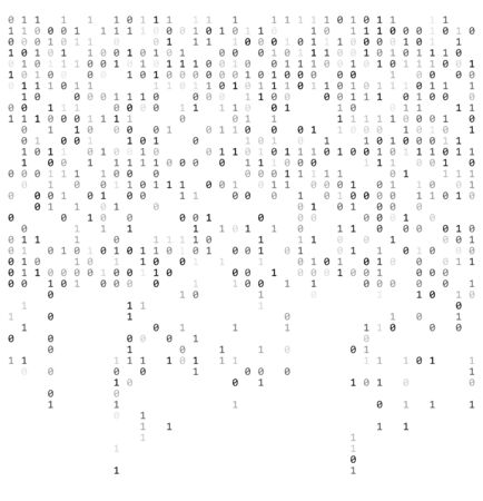 Binary falling numbers like matrix.  0,1 digits on white background template