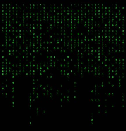 Binary falling numbers like matrix. Green 0,1 digits on black background
