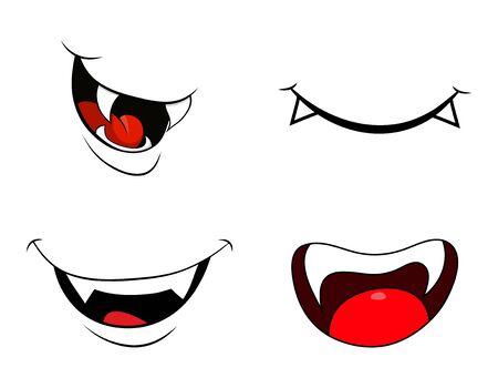 Conjunto de sonrisa de colmillo de boca de vampiro aislado sobre fondo blanco.