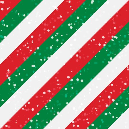 Christmas stripes seamless background. Diagonal red green peppermint with snow Illustration