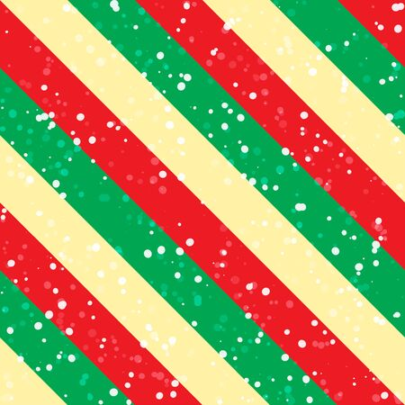 Christmas background with green, red and yellow diagonal stripes and snow. Vector seamless pattern Illustration