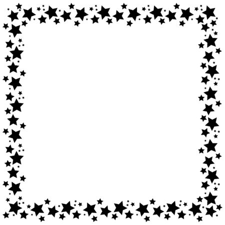 square frame with stars on white background, golden symbols. Starry night border. Element of design for a holiday, christmas banner, birthday and greeting card, cards, invitations to the wedding. Vector Illustratie