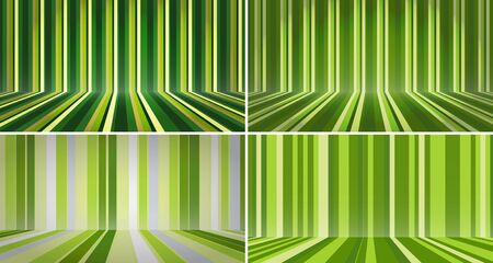 Stripe room set. Abstract green color stripe background. Room interior vintage wall and floor line design. Striped green studio backdrop with empty space for your content