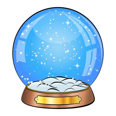 Snow Globe Vector cartoon design. Xmas Empty Snow Globe Ball. Winter Christmas Design Element. Glass Sphere Dome On A Stand. Isolated On white Background Illustration Illustration