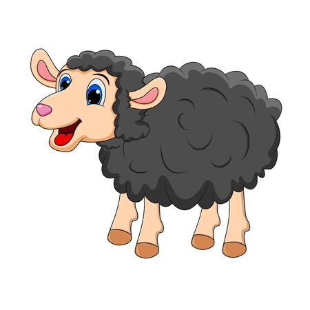 Black sheep Cute smilng funny sweet lamb. Smiling happy character of animal in cartoon style for design.