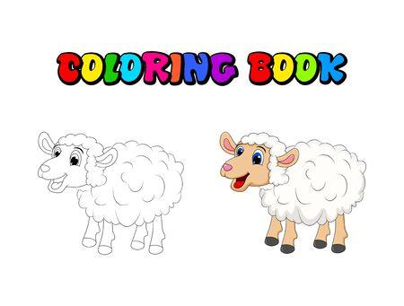Livre de coloriage de moutons blancs mignons de dessin animé, pages. Moutons debout pour le concept de ferme. Illustration vectorielle isolée sur fond blanc