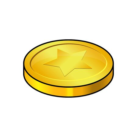 coin, gold cartoon isolated on white background. Vector illustration with star sign. Single money symbol icon, design for ui interface,app. Çizim