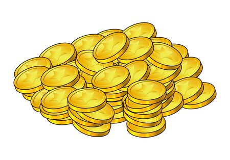 Stack of golden coin. Money Pile, scattered cash heap. Business elements. Vector illustration isolated on white background. financial concept. Çizim