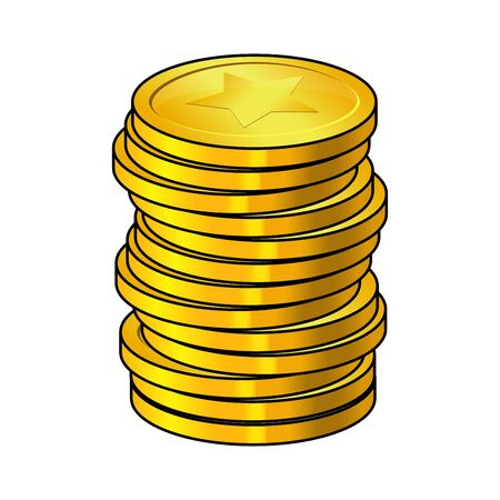 Pile of gold coins cartoon vector illustration isolated on white background. Cash heap, Golden column money stack. Coins with the image of the star.