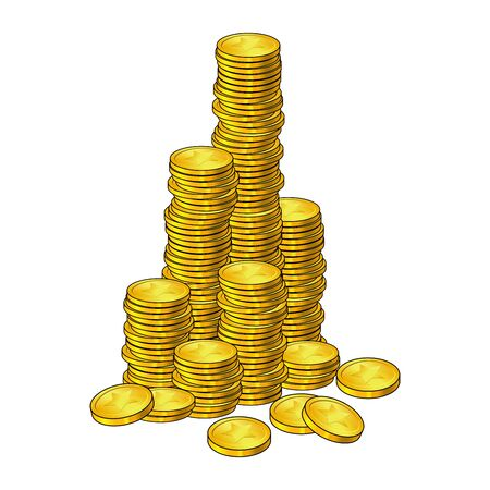 Coins mountain cartoon style.  Isolated icon. On white background. pile,stack of gold money. Big Cash column,tower.