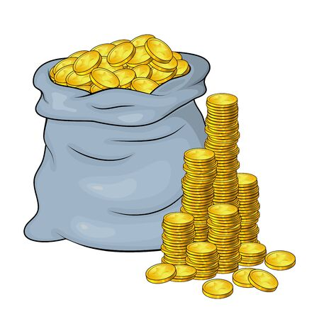 Open Sack Full of Golden coins and cash tower, mountain. Vector illustration banking money symbol isolated on white background