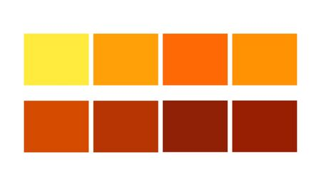 Orange Color tile illustration Shade and Ligths palette for cartoon design. Template to pick color swatches.  Çizim