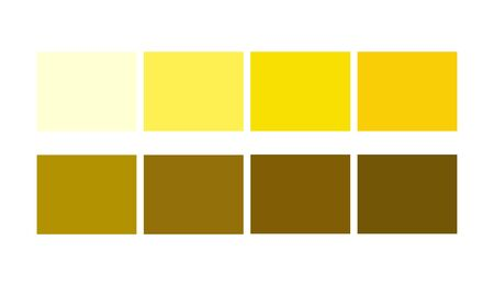 Yellow Color template collection Shade and Ligths palette for cartoon design. Template to pick color swatches.