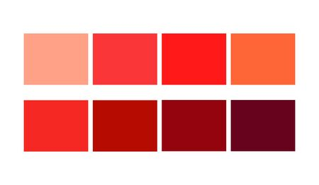 Red Tone Color Shade and Ligths palette for cartoon design. Template to pick color swatches. Vectores
