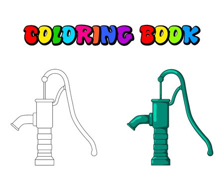 coloring book water pump design isolated on white background