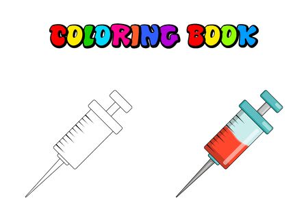 Syringe for injection Coloring book for children, Cartoon Medical Needle colouring pages for kids. Healthcare vector illustration isolated on white.