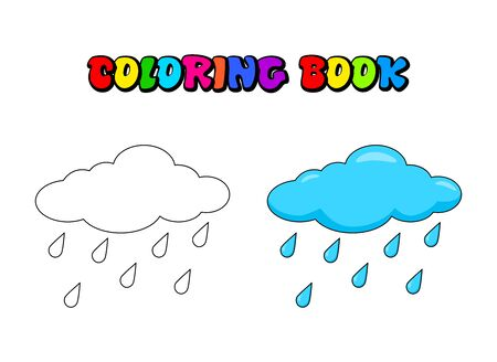 Cloud with rain drops Coloring book for children. Vector water drops outline illustration. Weather forecast coloring page for preschool kids