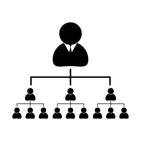 Company chart,structure isolated white background. Organization structure Silhouette with People Illustration
