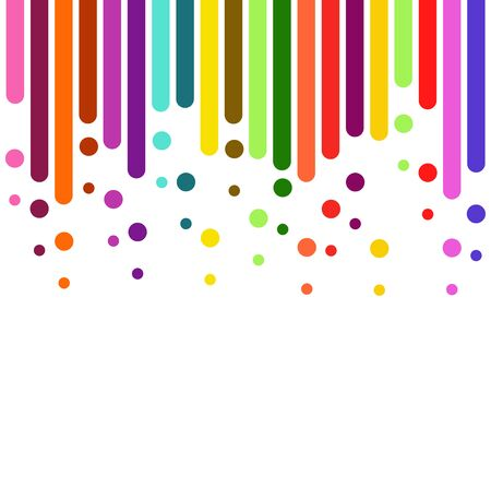 vertical rounded stripes in Rainbow Colours , lines on white. Dripping flat paint. template for the banner, flyer, poster, cover brochure . Vector business background.   Çizim