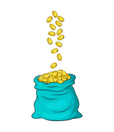 Falling coins in money bag. flying gold into heap,pile in full sack.Cash fall down. Vector illustration isolated on white background. Finance or succes concept.
