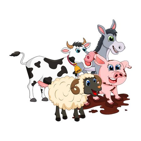 Farm animal group. Cow, pig, ram, donkey design isolated on white background. Cute cartoon animals collection Vector illustration