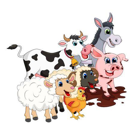 Gruppe von Nutztieren. Kuh, Schwein, Widder, Esel, Schaf, Henne-Design isoliert auf weißem Hintergrund. Niedliche Cartoon-Tiere Sammlung Vektor-Illustration