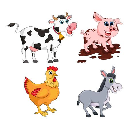 Farm animal set. Cow, pig,  donkey, hen  design isolated on white background. Cute cartoon animals collection Vector illustration Çizim