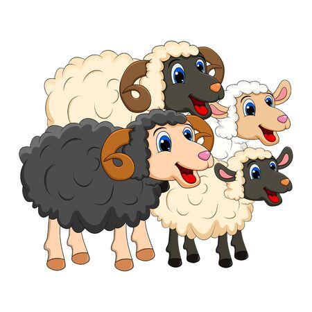 Farm animal group family. white  Sheep, lamb,  black ram   design isolated on white background. Cute cartoon animals collection Vector illustration Çizim