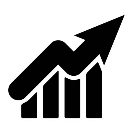 Growth graph up silhouette icon. Financial chart arrow linear style sign symbol for business concept or web design. Vector illustration isolated on a white background.