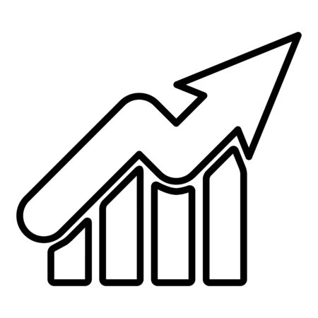 Growth graph up outline icon. Financial chart arrow linear style sign for mobile concept and web design. Vector illustration isolated on a white background.