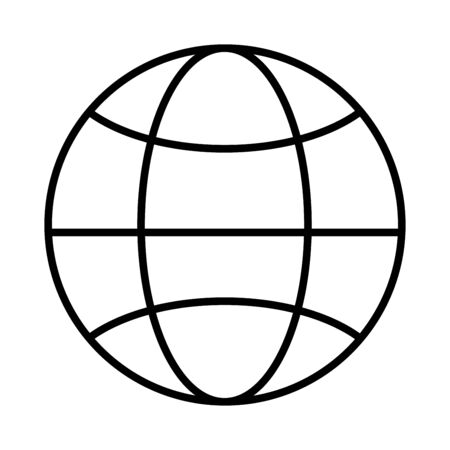 Globe outline icon. Linear earth vector illustration. Pictogram isolated on white background. Web sign design. World Internet network symbol for your web site design, logo, app, UI