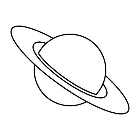 Planet Saturn with planetary ring system vector icon isolated on white background. Astronomy line icon, linear pictogram. Galaxy space business concept.