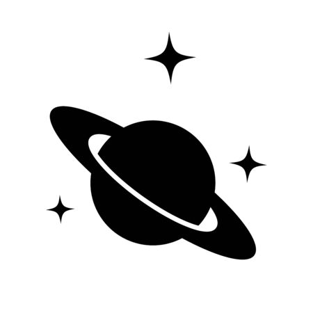 Saturn silhouette vector icon isolated on white background. Astronomy Planet with ring line symbol, linear pictogram. Galaxy space business concept design.
