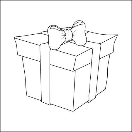 Present Box outline icon isolated on white. contour Gift cube for coloring book, pages design . Vector llustration for festival celebration, christmas, new year