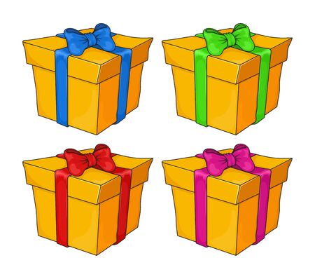 gift boxes set isolated on white background. orange icon symbol set, present box with bow vector design. element for Christmas design, gift voucher, birthday greeting card Çizim