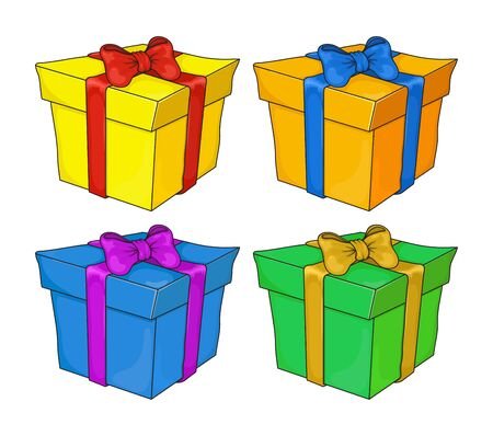 Set of colorful gift boxes with fashionable ribbons and bows isolated. green, blue, orange, yellow, present box. Decorative stylish wrap for presents package. Vector Gifts collection web icon sign symbol. Modern packing product.
