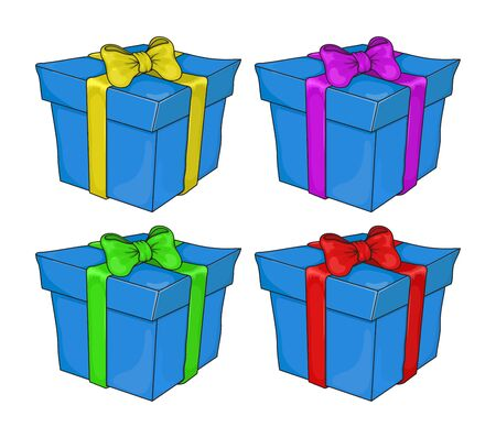 Gift Box Set. Blue Vector Present Boxes Isolated on White Background. Design for christmas or birthday party.