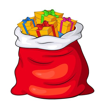 Christmas Santa's sack full of gift boxes and present packages. Claus red big bag, sackful for children. xmas presents with cartoon ribbon bow isolated on white Çizim
