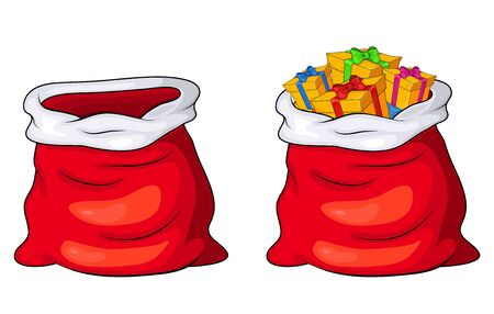 Santa Claus sack, bag empty and full with gifts and presents isolated on white background. Vector Christmas Design.