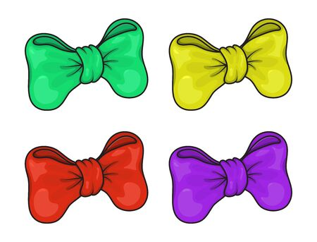 Bow set. Cartoon vector ribbons bows for xmas gifts, present cards and wrap pack isolated on white background. Vector illustration in different colors: green,yellow,orange,purple,