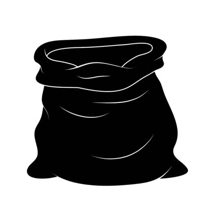 Sack of Santa Claus silhouette. Big open bag for christmas gifts. Illustration for new year and xmas composition.