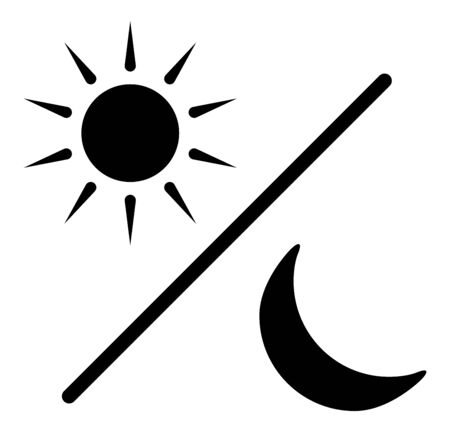 Sun and moon glyph silhouette icon,  black day and night symbol, flat vector simple element illustration isolated on white background