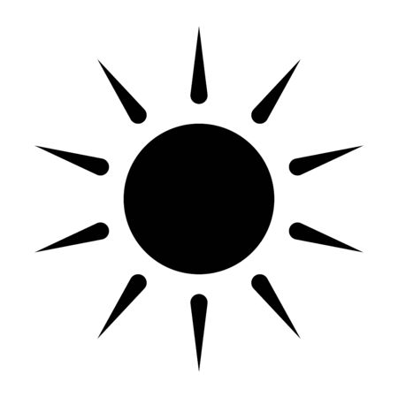 Sun silhouette isolated on white background . Sunny Weather Element icon design. Symbol for your web site design, app, UI. Vector illustration, EPS