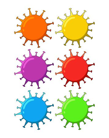 coronavirus disease attack. bacteria, microbes and viruses vector icon illustration design template. isolated on white background. Vector illustration image.