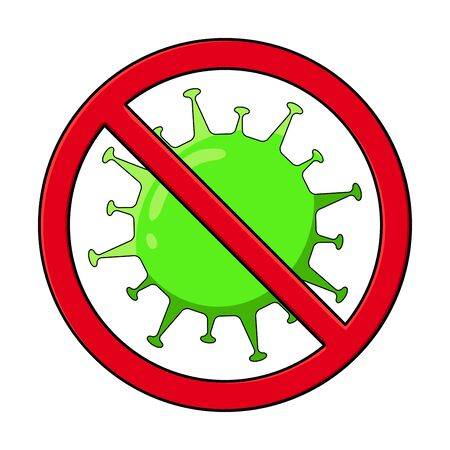 Corona virus vector with warning stop sign on white background. coronaviruses cell, virus disease. Stop coronavirus concept. Vector illustration isolated on white background. Illusztráció