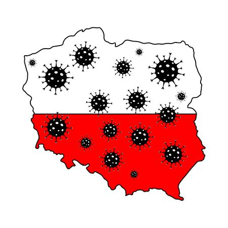 Stop coronavirus in Poland. Poland map flag with coronavirus symbols.Quarantine in Poland. Flu spreading of world