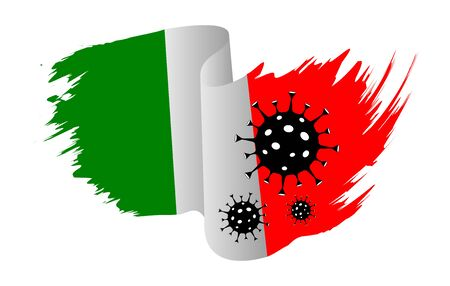 Italy flag coronavirus. Stop 2019-nCoV outbreak. Coronavirus danger a risk disease and flu spread. Italian flag with corona virus concept. Illustration isolated on white background