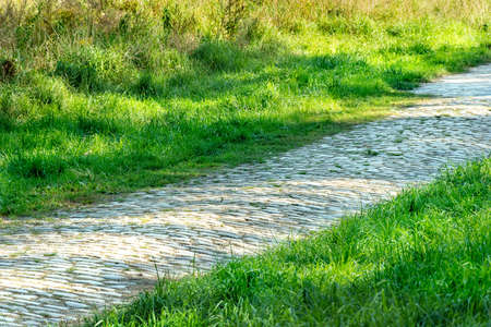 Path or sidewalk made with rock blocks near lawn. straight pathway in the midst of grassland. pebble walk way in backyard. old cobbled footpath among green grass. grey walkway landscaping photography.