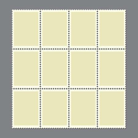 Postage marks set. Sheet of 12 blank postal stamps for postcard or envelopes. Vintage empty stamp with perforated edge for letter. Retro border or frame illustration. New connected mail sticker. 向量圖像