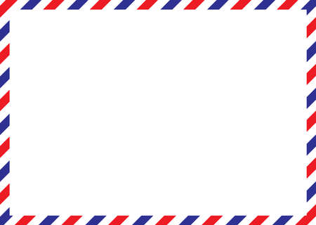 Airmail envelope frame. International vintage letter border. Retro air mail postcard with blue and red stripes. Blank correspondence paper template. Empty classic postal message illustration.